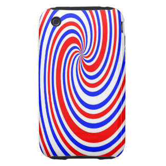 Red white and blue swirl tough iPhone 3 case