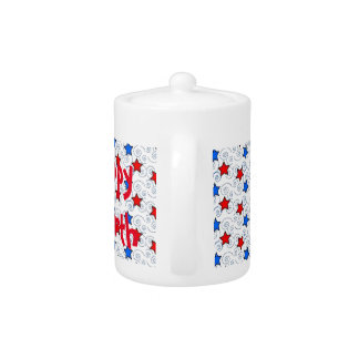Red White and Blue Teapot