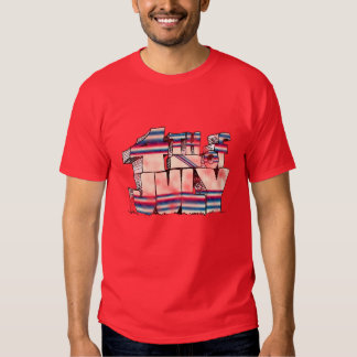 red white and  blue tee shirt