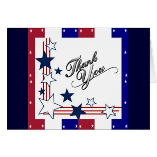 Red White and Blue Thank You Card