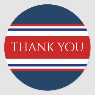 Red White and Blue Thank You Classic Round Sticker