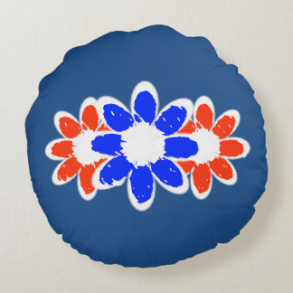 Red White And Blue Three Flower Round Throw Pillow