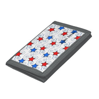 Red White and BLue Trifold Wallet