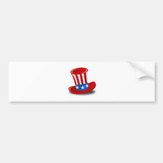 Red, White, and Blue Uncle Sam Top Hat Bumper Sticker
