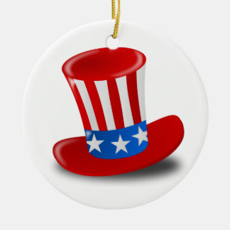 Red, White, and Blue Uncle Sam Top Hat Ceramic Ornament