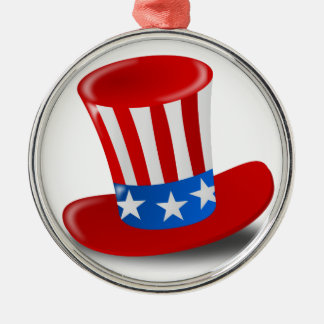 Red, White, and Blue Uncle Sam Top Hat Metal Ornament