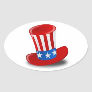 Red, White, and Blue Uncle Sam Top Hat Oval Sticker