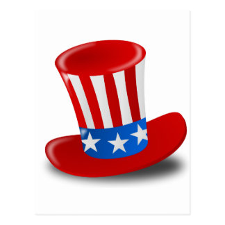 Red, White, and Blue Uncle Sam Top Hat Postcard