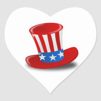 Red, White, and Blue Uncle Sam Top Hat Heart Sticker