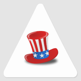 Red, White, and Blue Uncle Sam Top Hat Triangle Sticker