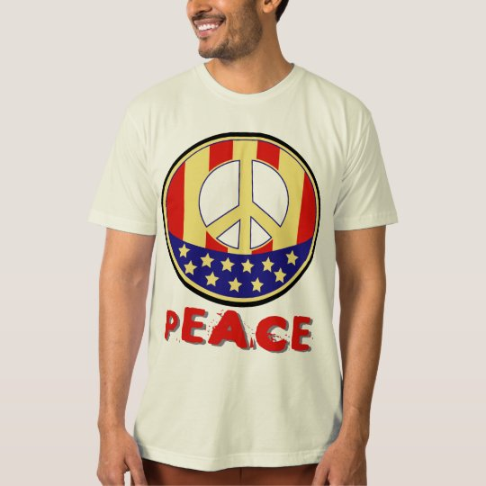 Red White and Blue US Flag Peace Sign T-Shirt