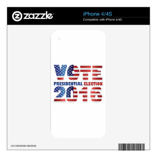 Red White and Blue USA Flag Vote 2016 iPhone 4 Decals