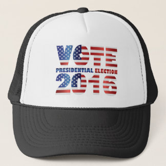 Red White and Blue USA Flag Vote 2016 Trucker Hat