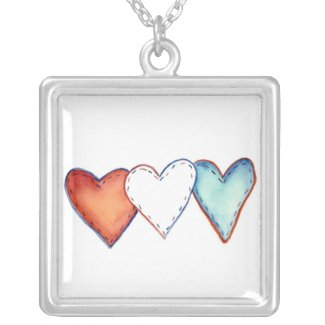 Red, White, and Blue USA Hearts Jewelry Necklace