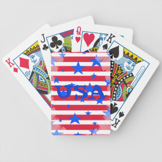 Red White and Blue USA Stars and Stripes Bicycle Playing Cards