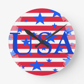 Red White and Blue USA Stars and Stripes Wallclocks