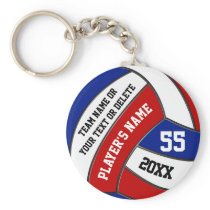 Red White and Blue Volleyball Keychains, Your Text Keychain
