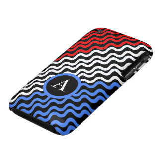 red, white and blue waves pattern iPhone 3 covers