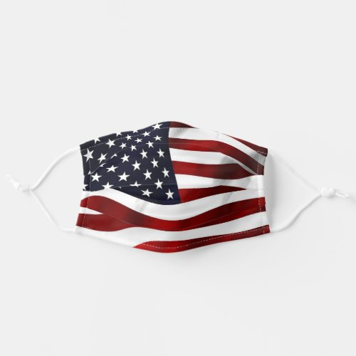 Red White and Blue Wavy Patriotic American Flag Cloth Face Mask