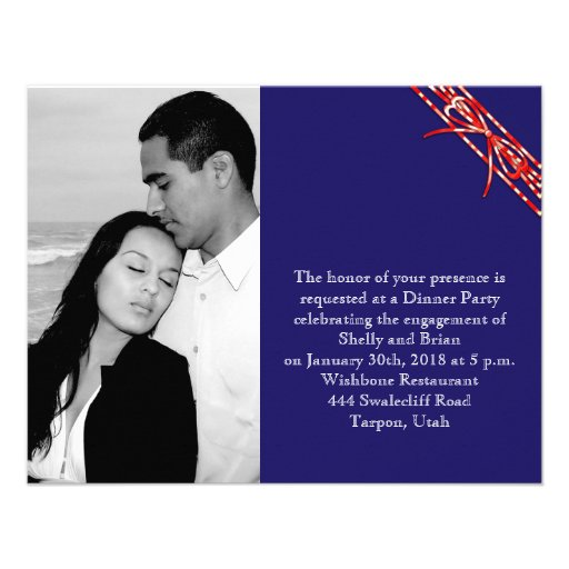 Red White and Blue Wedding Engagement Invitation