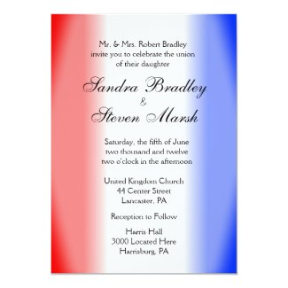 "Red White and Blue Wedding Invitations 5"" X 7"" Invitation Card"