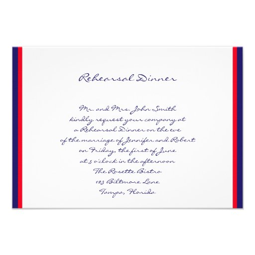 Red White and Blue Wedding Rehearsal Announcements
