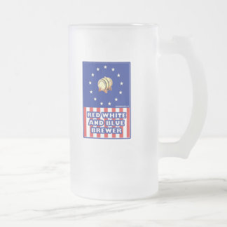 Red White And Blue Wine Brewer Frosted Glass Beer Mug
