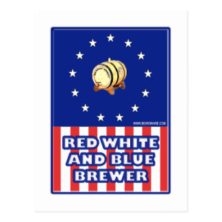 Red White And Blue Wine Brewer Postcards