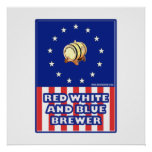 Red White And Blue Wine Brewer Posters