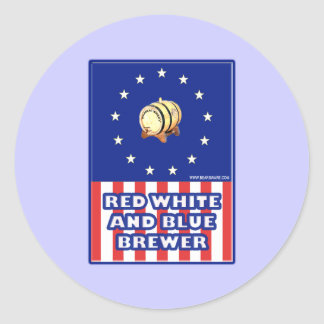 Red White And Blue Wine Brewer Round Sticker