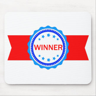 Red, White and Blue Winner Ribbon Mouse Pad