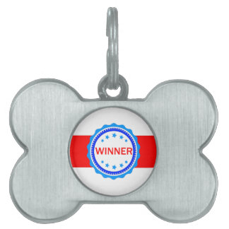 Red, White and Blue Winner Ribbon Pet Tag