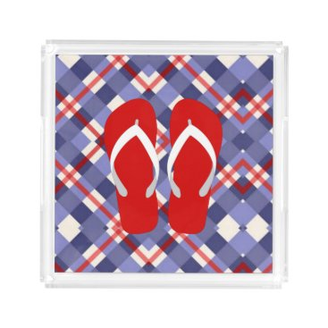 Beach Themed Red, White and Blue with Flip Flops Serving Tray