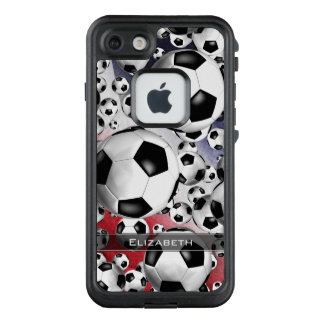 red white and blue women's soccer balls everywhere LifeProof FRĒ iPhone 7 case