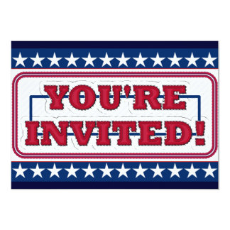 Red White and Blue You're Invited Card