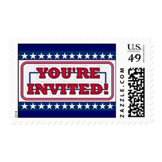 Red White and Blue You're Invited Stamps