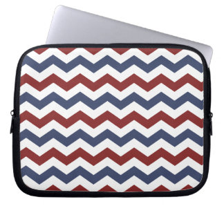 Red White and Blue Zig Zag Pattern Laptop Sleeve