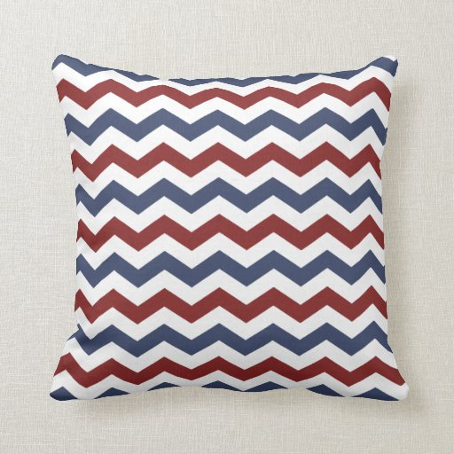 Red white and blue zig zag pattern pillows zazzle for Red and blue pillows