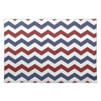 Red White and Blue Zig Zag Pattern Cloth Place Mat