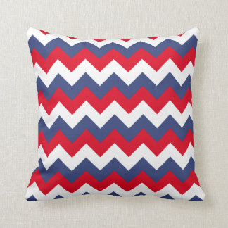 Red White and Blue Zigzag Throw Pillow