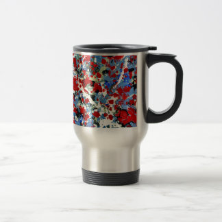 RED, WHITE AND BLUES ~ (abstract art design) ~ 15 Oz Stainless Steel Travel Mug
