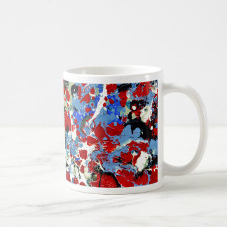 RED, WHITE AND BLUES ~ (abstract art design) ~ Classic White Coffee Mug