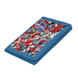 RED, WHITE AND BLUES ~ (abstract art design) ~ Tri-fold Wallets
