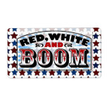 Red White and Boom Shipping Label