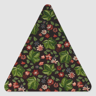 red white and burgundy vintage flowers triangle sticker