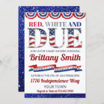 Red White And Due 4th of July Baby Shower Invitation