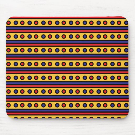 Red White and Gold Dots Mouse Pad