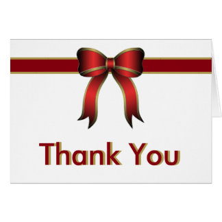 Red White and Gold Gift with Bow Thank You Card