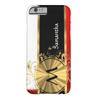 Red white and gold monogram iPhone 6 case