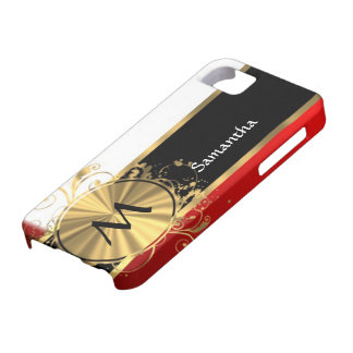 Red white and gold monogram iPhone SE/5/5s case